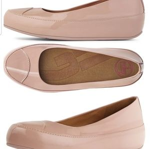 FitFlop Due Patent Nude Ballet Flat Shoes